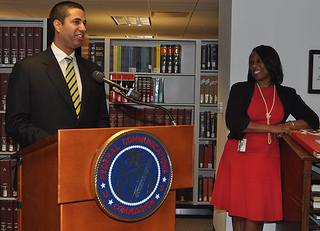 FCC Commissioner Ajit Pai and FCC Secretary Ma...