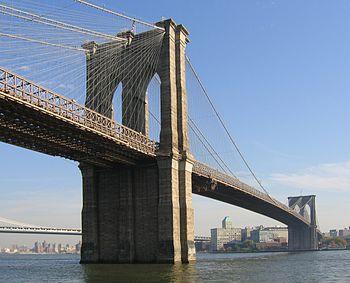 English: The Brooklyn Bridge, seen from Manhat...